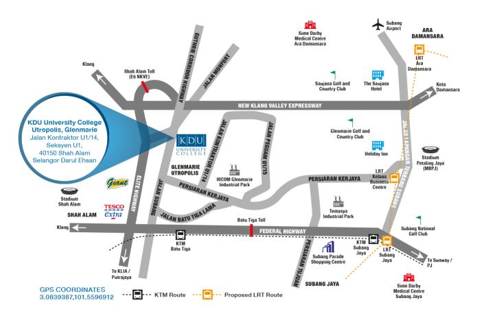KDU glenmarie Shah Alam Map